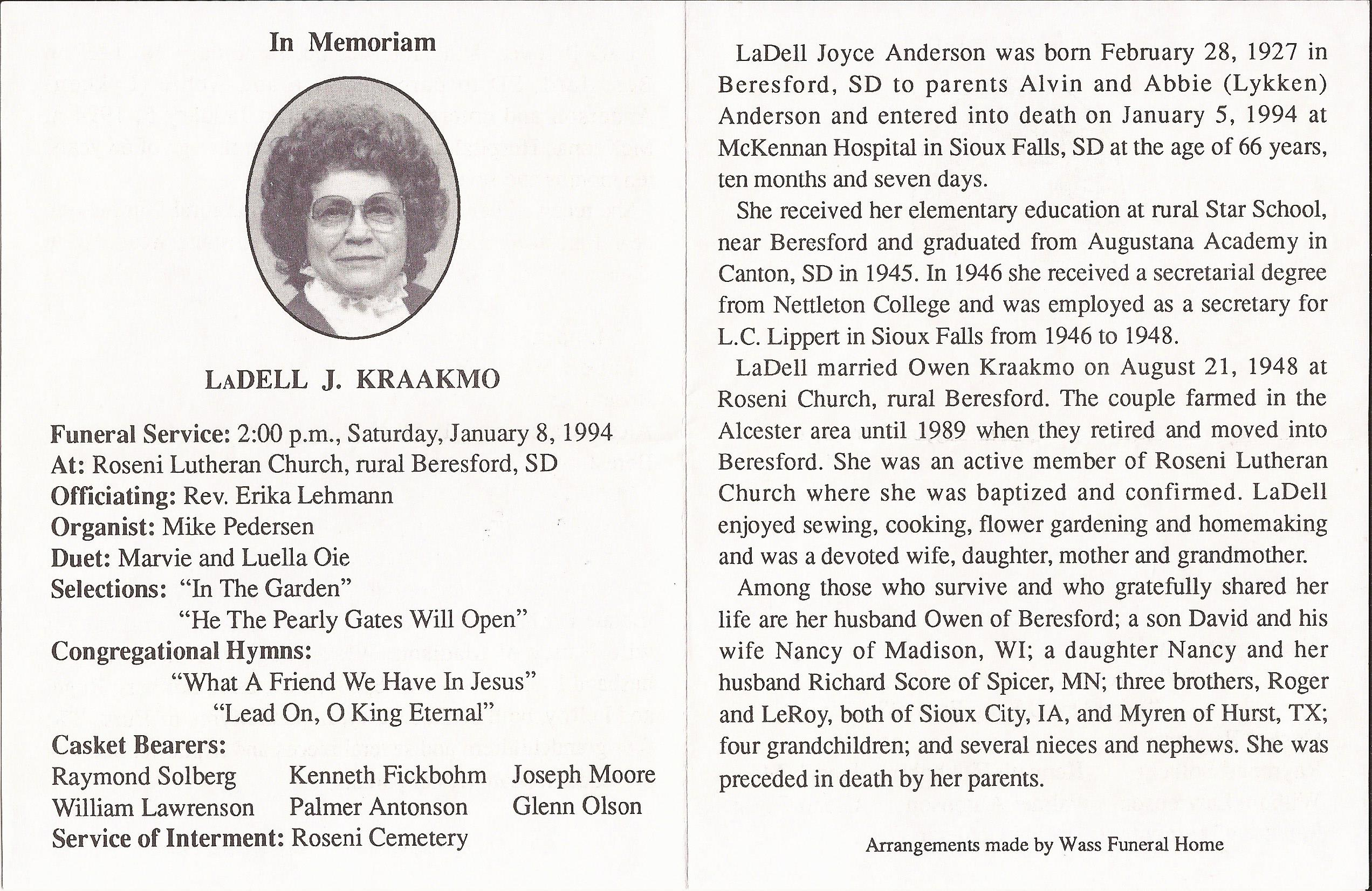 Friede Abrahamson Genealogy Site Person Page