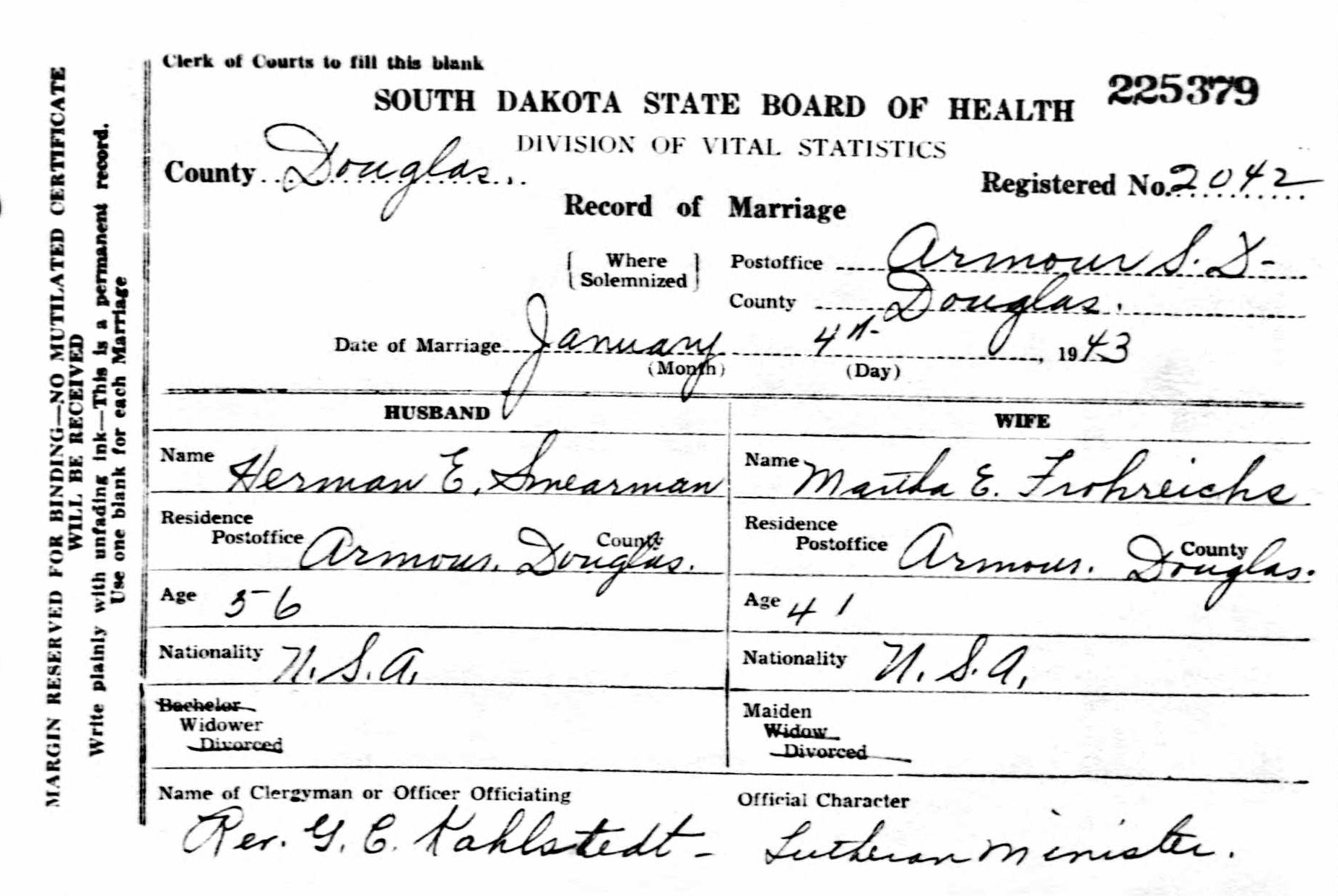 Friede abrahamson genealogy site person page marriage record of herman smearman and martha frohreich 04 jan 1943 armour douglas sd 1betcityfo Gallery