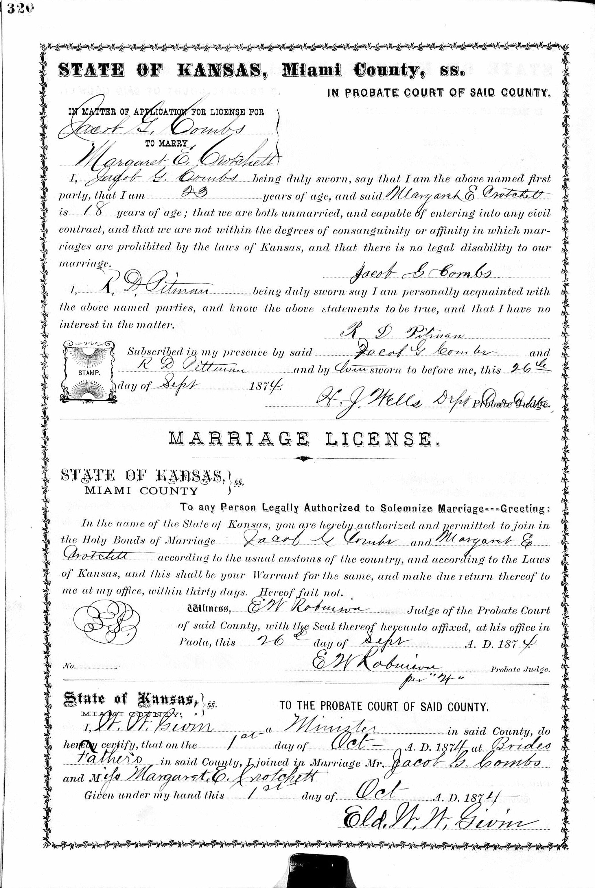 Friede Abrahamson Genealogy Site Marriage Record Of Jacob G Combs
