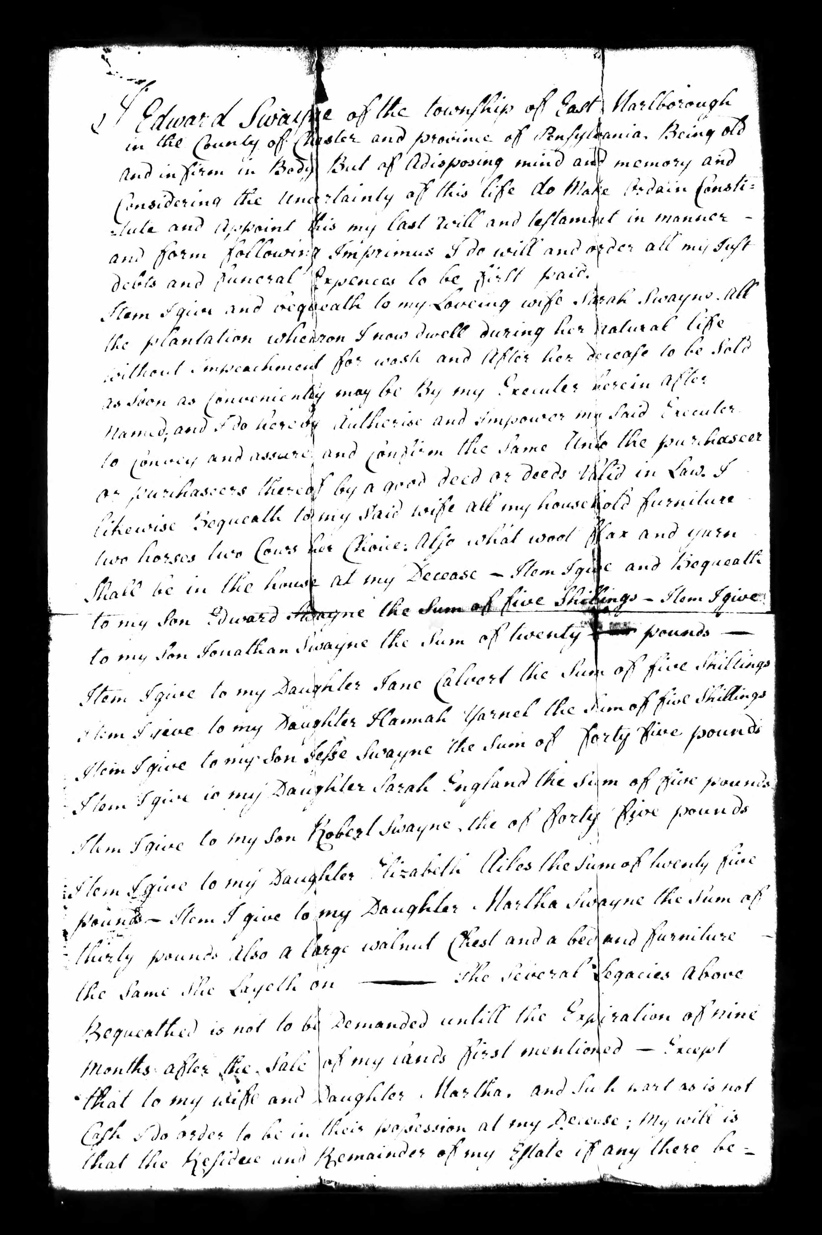 Friede-Abrahamson Genealogy Site - Will of Edward Swayne ...