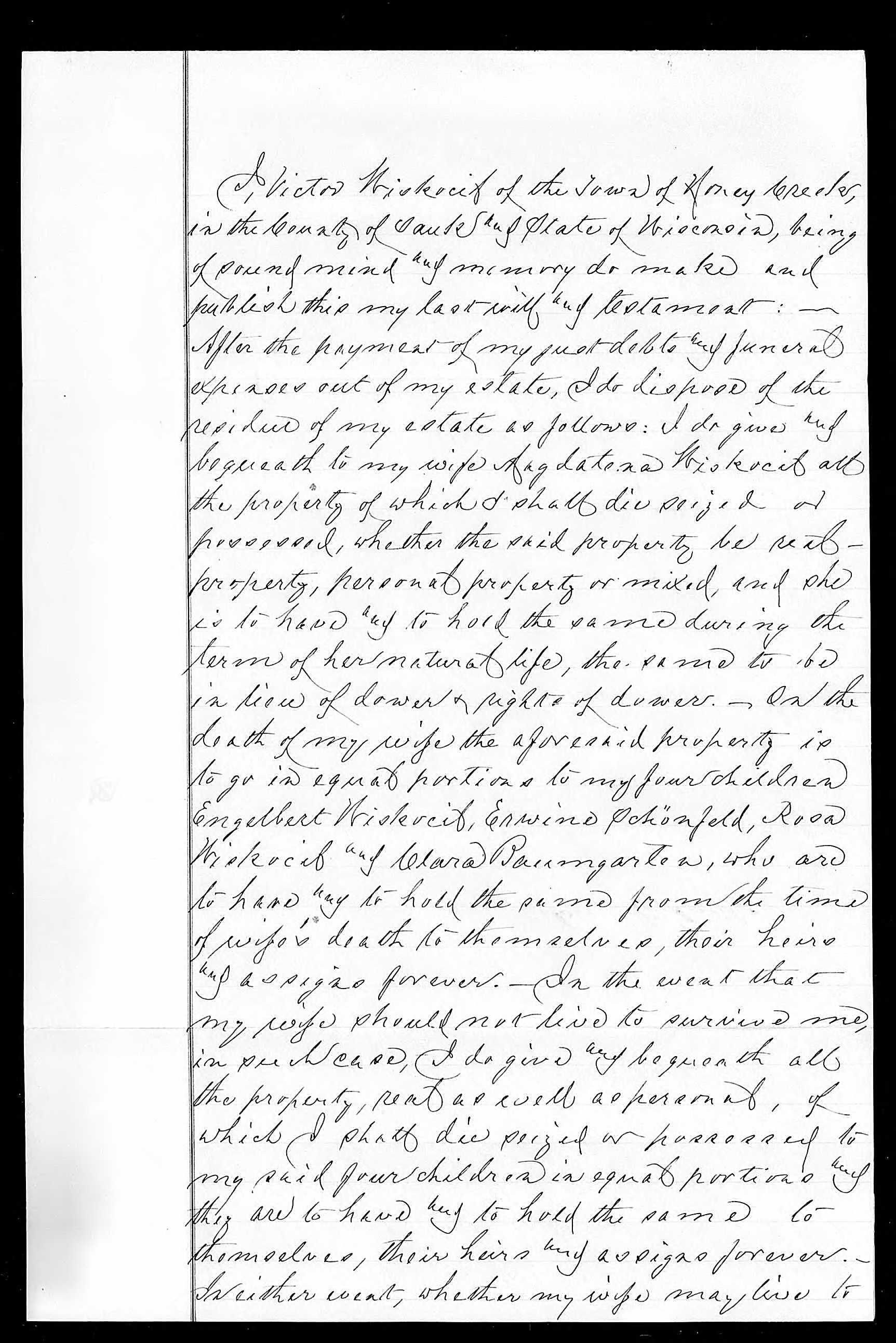 Friede-Abrahamson Genealogy Site - Will of Victor Wiskocil ...