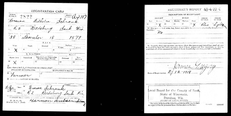 WWII Registration Card For Herman Wilhelm Schrank